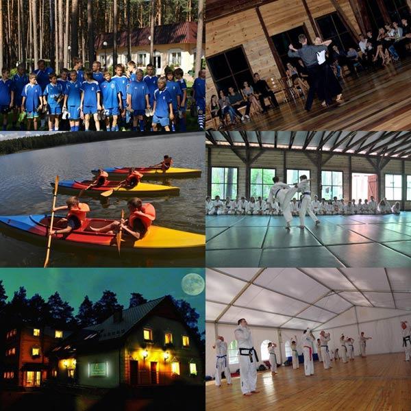 Ośrodek wypoczynkowy sportowy ,obozy kolonie sportowe ,sale sportowe ,boiska, mata judo, nauka tańca, piłka nożna, koszykówka, siatkówka, piłka ręczna , aikido, zielone szkoły